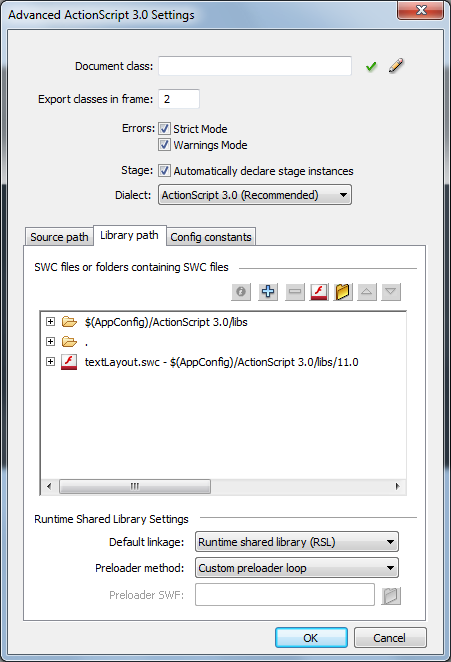 Advanced ActionScript 3.0 Settings dialog